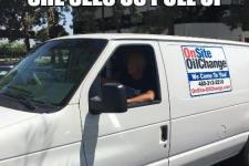 Steve in an OnSite OilChange van